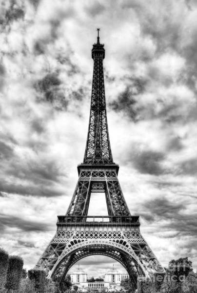 Photograph - Eiffel Tower In Paris 3 Bw by Mel Steinhauer