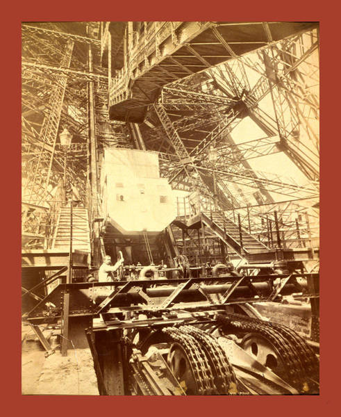 Wall Art - Photograph - Eiffel Tower Machinery With A Man Beside The Wheel That by French School