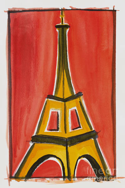 Eiffel Tower Orange And Yellow Art Print