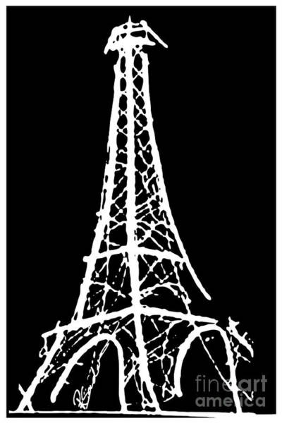 Eiffel Tower Paris France White On Black Art Print