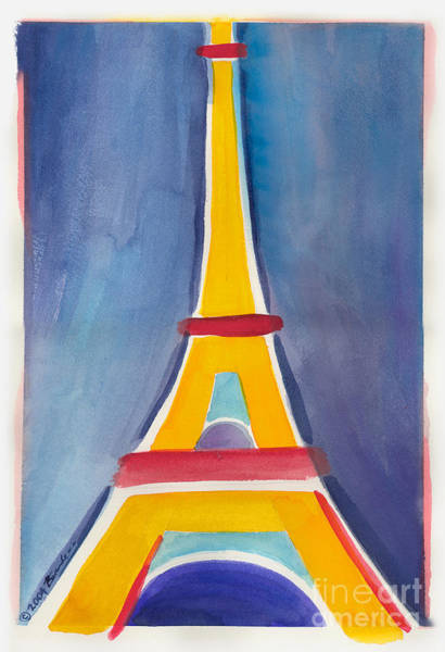 Painting - Eiffel Tower Paris France Yellow Red And Aqua Blue by Robyn Saunders