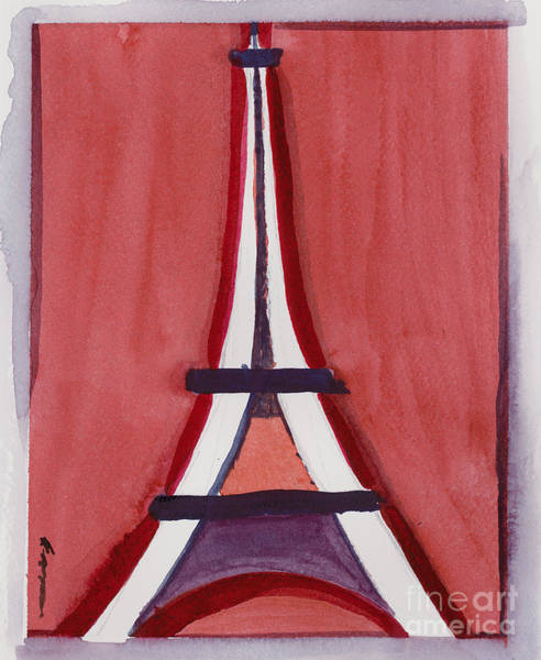 Eiffel Tower Red White Art Print