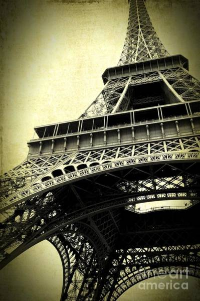 Photograph - Eiffel Tower Textures In Sepia 2 by Carol Groenen