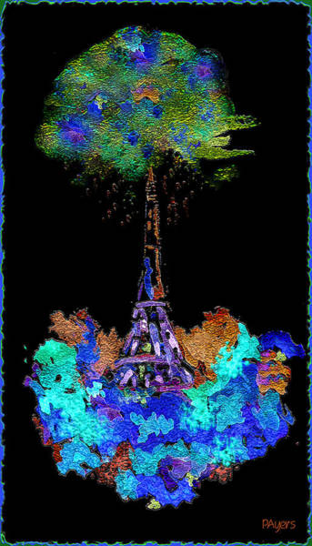 Pink Wall Art - Painting - Eiffel Tower Topiary by Paula Ayers