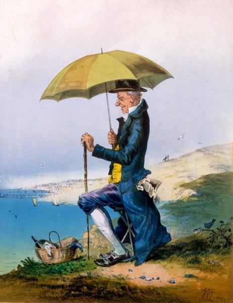 Gentleman Drawing - Eight Hours At Seaside For Three by English School
