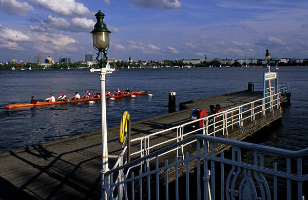 Racing Shell Photograph - Eight Rowboat Racing Past Rabenstrasse by Marc Steinmetz