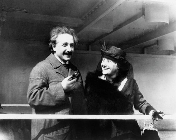 1921 Photograph - Einstein And His Second Wife Elsa by Emilio Segre Visual Archives/american Institute Of Physics