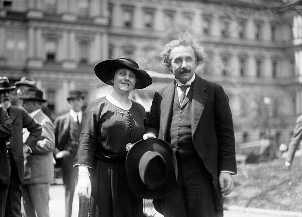 Special Effects Photograph - Einstein And His Second Wife Elsa by Library Of Congress