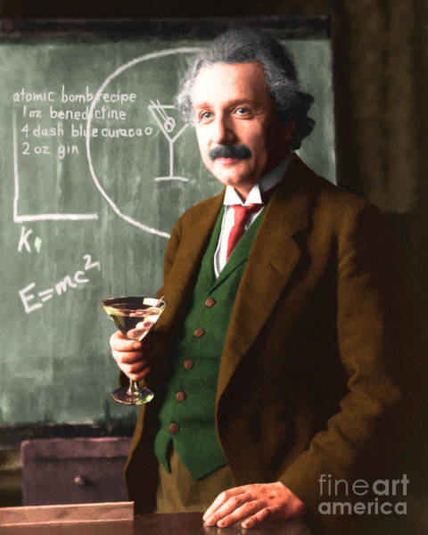 Photograph - Einstein Discovers The Atomic Bomb 20140910 by Wingsdomain Art and Photography