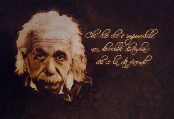 Pirografia Wall Art -  - Einstein by Lucia Ivana Cardigliano