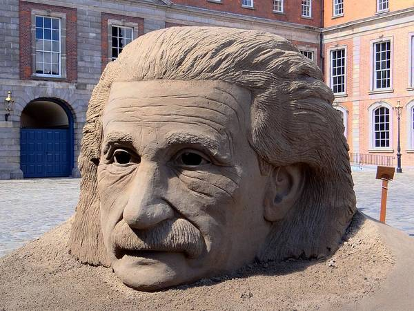 Photograph - Einstein Sand Sculpture by Keith Stokes