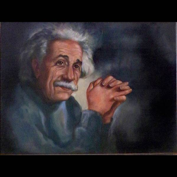 Wall Art - Painting - Einstein by Saundra Bolen Samuel