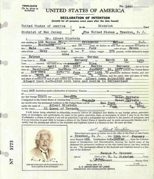 Immigrant Photograph - Einstein's Immigration Declaration by Emilio Segre Visual Archives/american Institute Of Physics