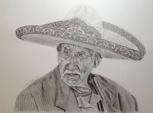 Mariachi Drawing - El Abuelo Charro by Rodrigo Luna
