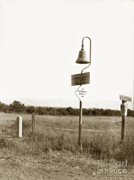 Photograph - El Camino Real Mission Bell Near San Fernando Mission California 1906 by California Views Archives Mr Pat Hathaway Archives