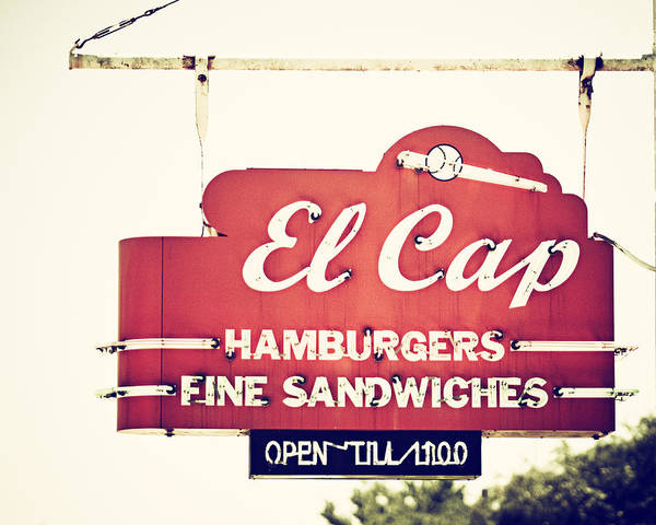 Wall Art - Photograph - El Cap Restaurant Sign In St. Petersburg Florida by Lisa Russo
