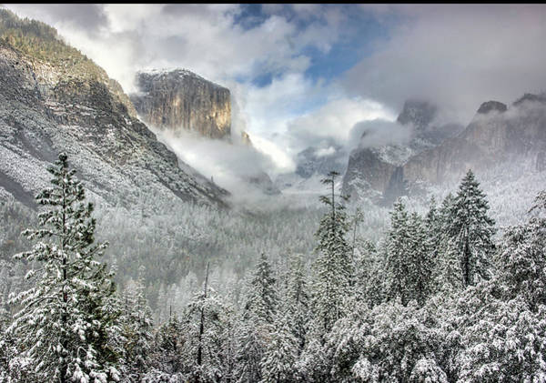 Inspirational Photograph - El Capitan With Snow And Clouds Taken by Inspirational Images By Ken Hornbrook