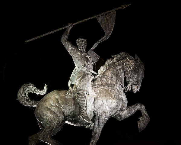 Photograph - El Cid Statue At Night by Lee Kirchhevel