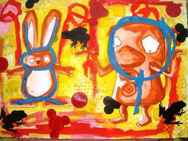 Wall Art - Painting - El Conejo En La Luna by Roberto Dominguez