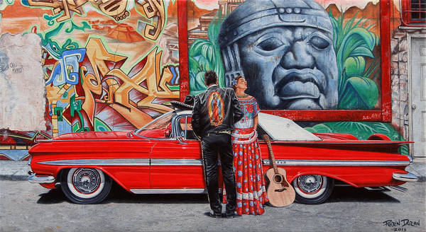 District Wall Art - Painting - El Mariachi Y La Danzante by Ruben Duran