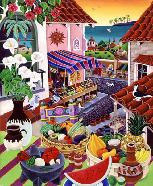 Flower Market Painting - El Mercado by Raul Del Rio