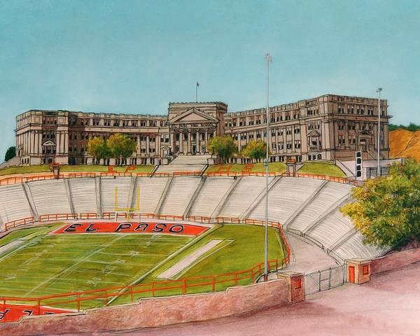 El Paso Wall Art - Painting - El Paso High School by Candy Mayer