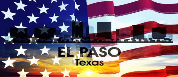 Mixed Media - El Paso Tx Patriotic Large Cityscape by Angelina Tamez