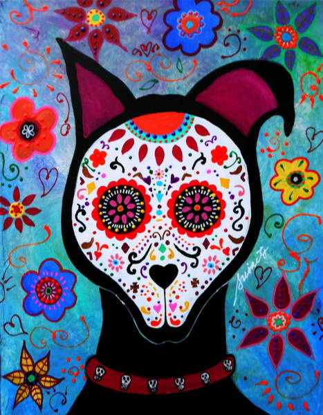 Wall Art - Painting - El Perro Day Of The Dead by Pristine Cartera Turkus