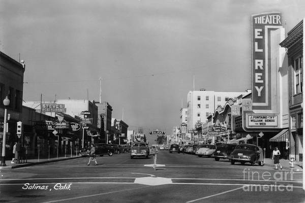 Photograph - El Rey Theater Main Street Salinas Circa 1950 by California Views Archives Mr Pat Hathaway Archives