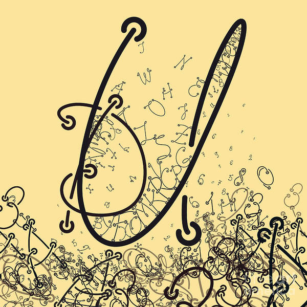 Wall Art - Digital Art - Elaborate Composition Of Letters A by Eugen Domentean