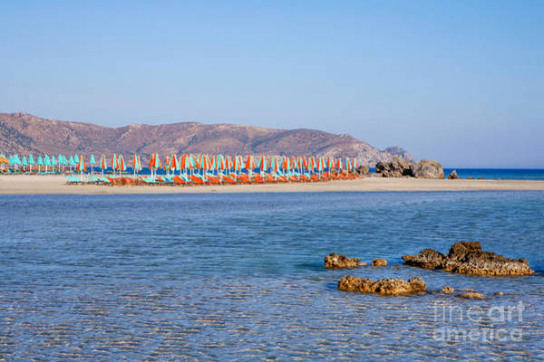 Photograph - Elafonisos Or Elafonissos Beach And Umbrellas by Paul Cowan