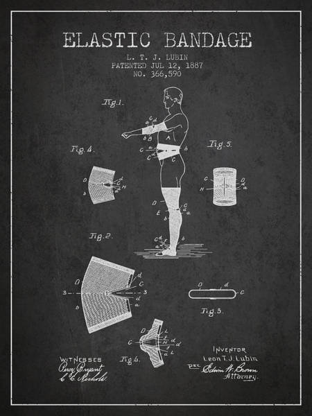 Bandage Wall Art - Digital Art - Elastic Bandage Patent From 1887 - Charcoal by Aged Pixel
