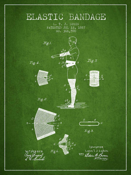 Bandage Wall Art - Digital Art - Elastic Bandage Patent From 1887 - Green by Aged Pixel