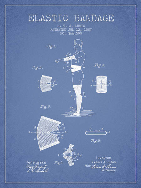 Bandage Wall Art - Digital Art - Elastic Bandage Patent From 1887 - Light Blue by Aged Pixel