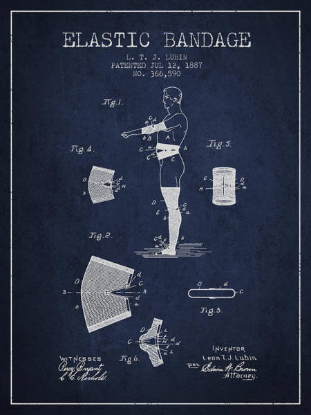 Bandage Wall Art - Digital Art - Elastic Bandage Patent From 1887 - Navy Blue by Aged Pixel