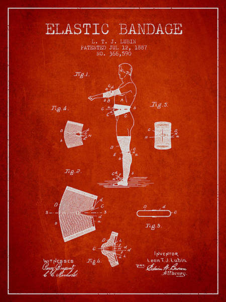 Bandage Wall Art - Digital Art - Elastic Bandage Patent From 1887 - Red by Aged Pixel