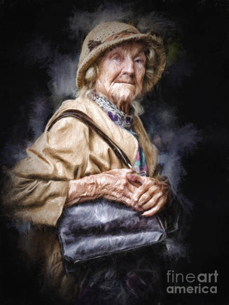 Wall Art - Photograph - Elderly Lady Clutching Her Bag by Sheila Smart Fine Art Photography