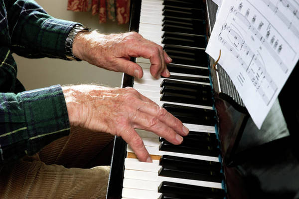 Gentle Man Wall Art - Photograph - Elderly Man Playing The Piano by Jerry Mason/science Photo Library