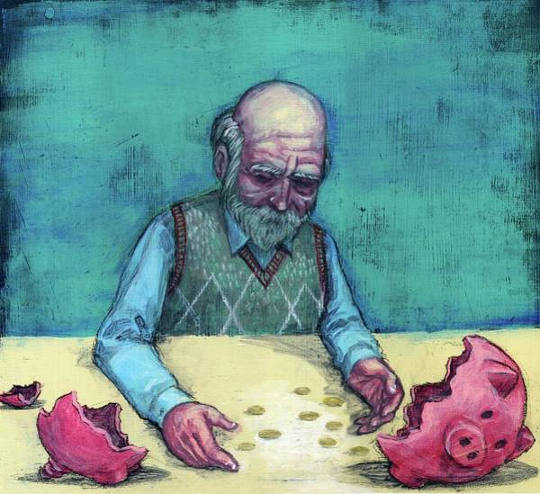 Legal Tender Photograph - Elderly Man With Broken Piggy Bank by Fanatic Studio / Science Photo Library