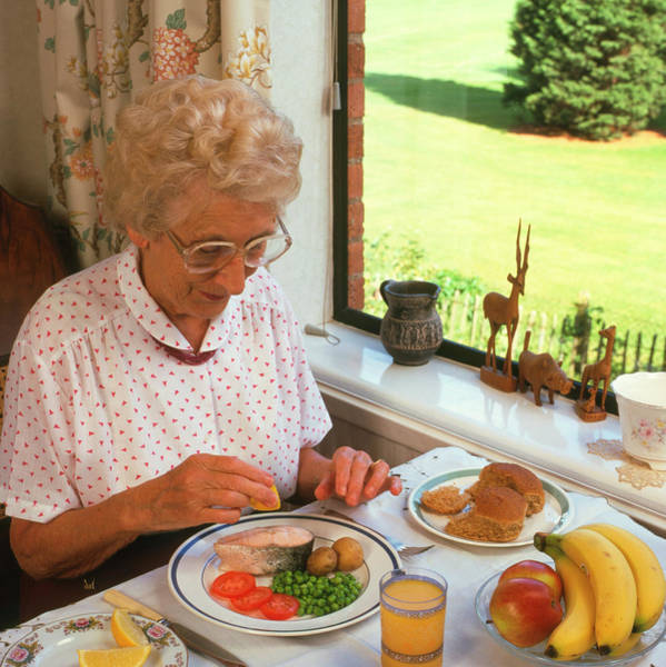 Senior Photograph - Elderly Woman Eating Healthy Meal by Sheila Terry/science Photo Library
