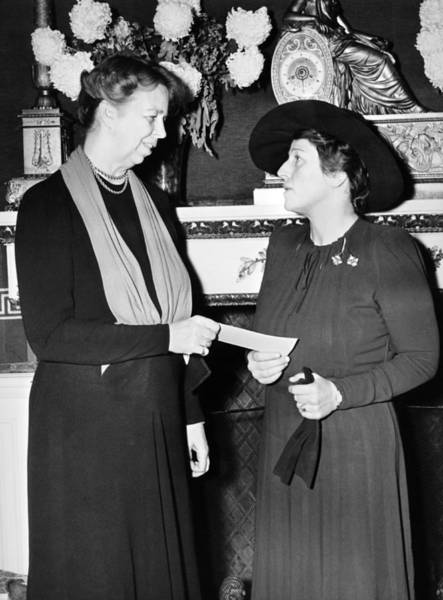 Black Buck Photograph - Eleanor Roosevelt & Pearl Buck by Underwood Archives