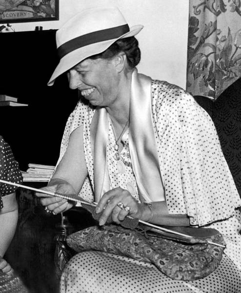 First Photograph - Eleanor Roosevelt Knitting by Underwood Archives