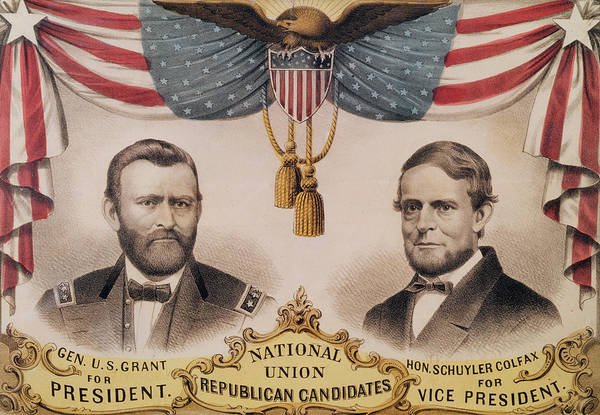 Vice Painting - Electoral Poster For The Usa Presidential Election Of 1868 by American School