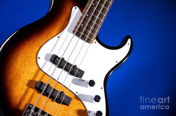 Photograph - Electric Bass Guitar Photograph On Blue 3322.02 by M K Miller