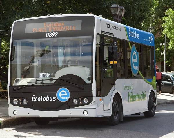 Quebec City Photograph - Electric Bus by Steve Horrell/science Photo Library