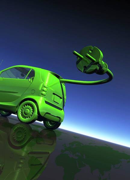 Plug-in Photograph - Electric Car by Victor Habbick Visions/science Photo Library