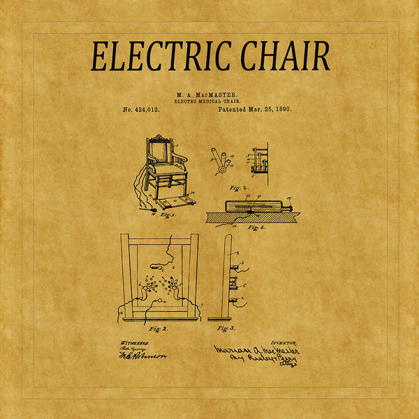 Photograph - Electric Chair Patent 1 by Andrew Fare