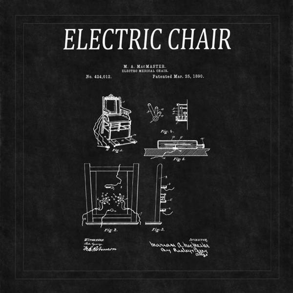 Photograph - Electric Chair Patent 2 by Andrew Fare