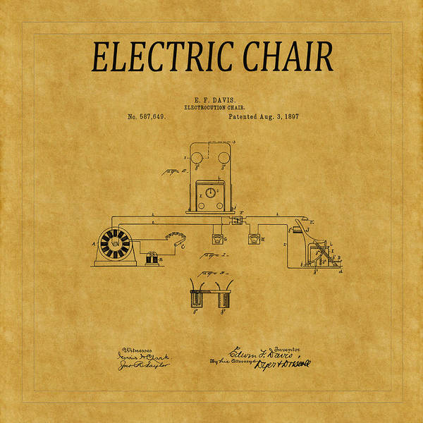 Photograph - Electric Chair Patent 5 by Andrew Fare