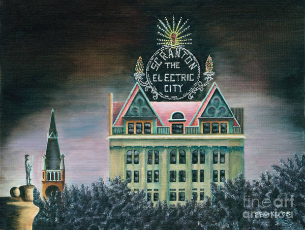 Courthouse Painting - Electric City At Night by Austin Burke